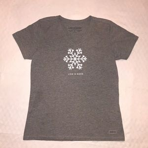 Life is Good Gray Tee with Snowflake NWOT Size M